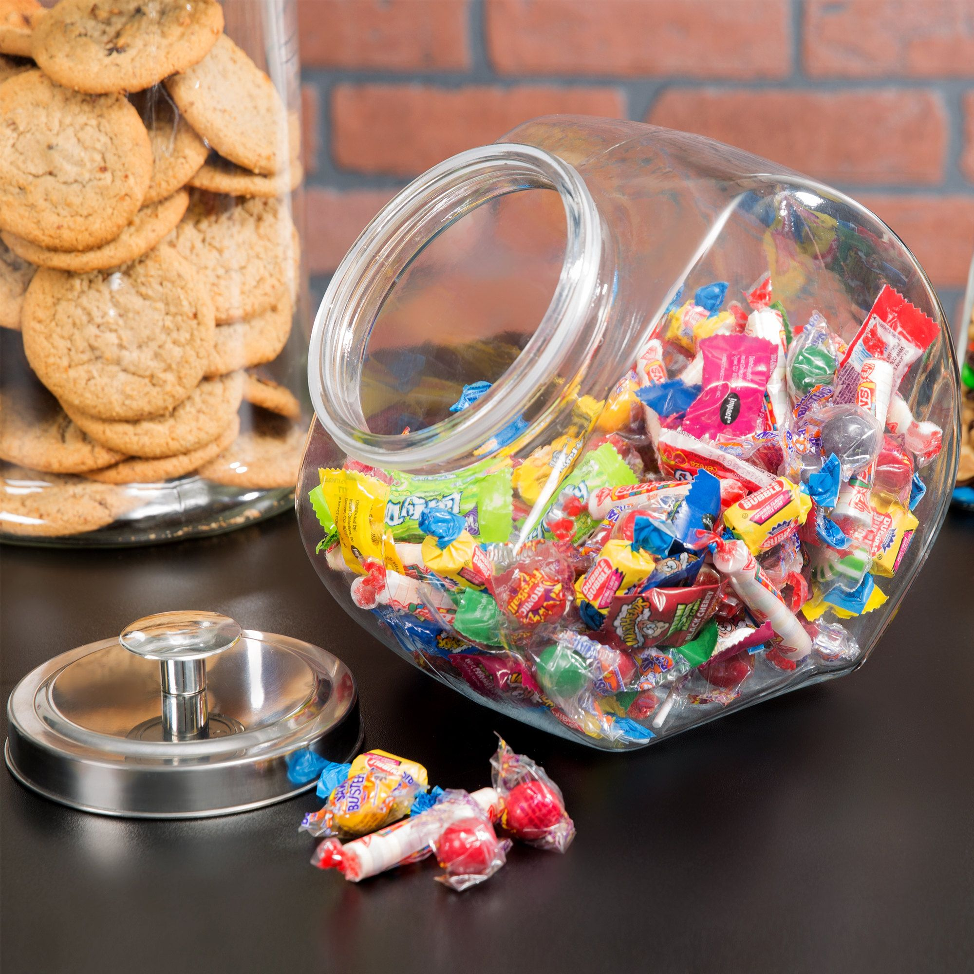 Choice 1 Gallon Glass Penny Candy Jar with Chrome Lid