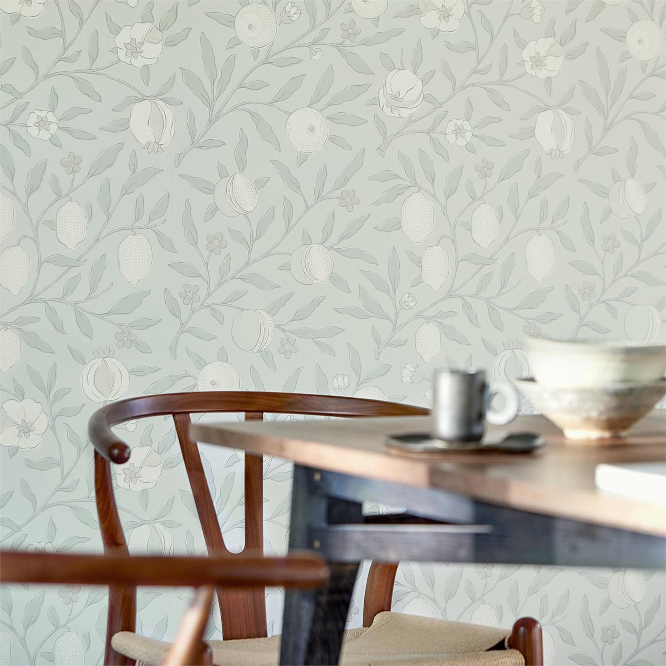 Morris & Co Pure Fruit Grey Blue in 2020 Blue wallpapers