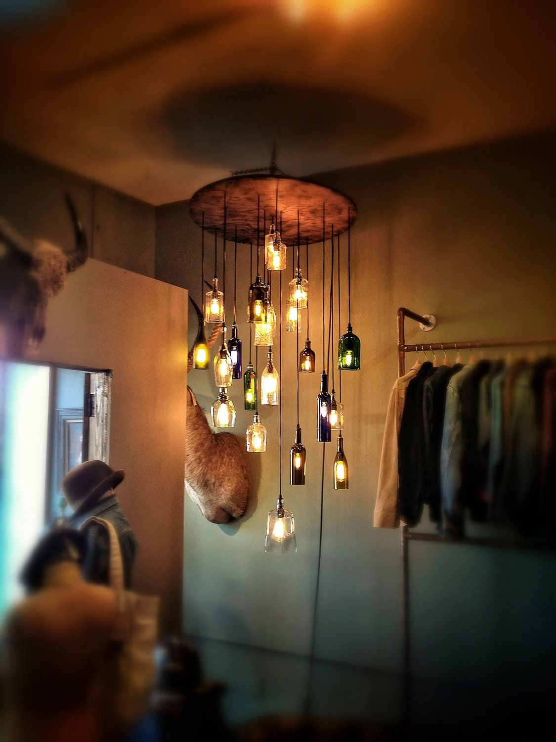 Salvaged Liquor Bottle Chandelier More