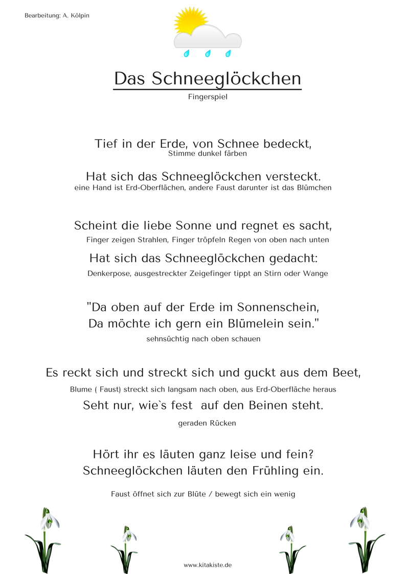 Fingerspiel Das Schneeglöckchen | kindergarten | Pinterest ...