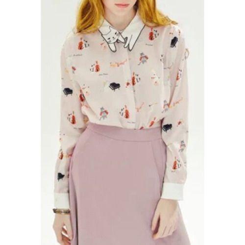 cat blouse| $13.56  kawaii pastel hipster fachin cat blouse button up top under20 under30 rosewholesale