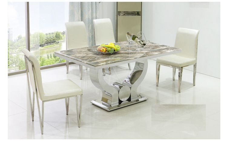 41718266711 Minimalist New Stainless Steel Marble Dining Table