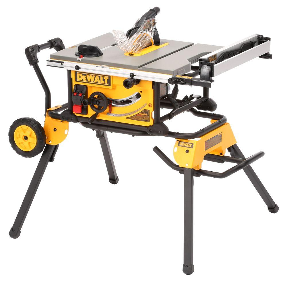 Dewalt 15 Amp Corded 10 In Job Site Table Saw With Rolling Stand Dwe7491rs The Home Depot Portable Table Saw Table Saw Jobsite Table Saw