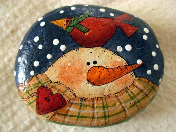 Snowman & Red Cardinal Decorative Stone – Handpainted|Home Decor|Paperweight|Garden