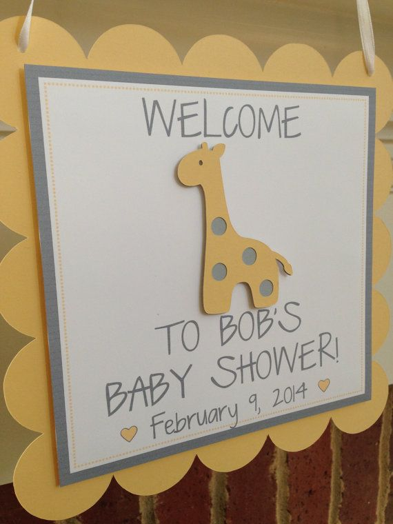 Giraffe BABY SHOWER Banner or NAME Yellow by OnceUponATwineDesign