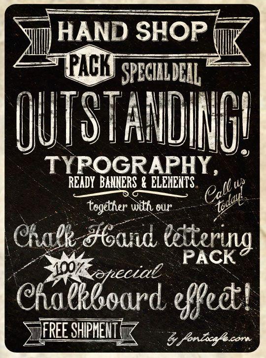 Hand Shop Pack Chalk Hand Lettering Pack Fonts Cafe Lettering Lettering Fonts Chalk Lettering
