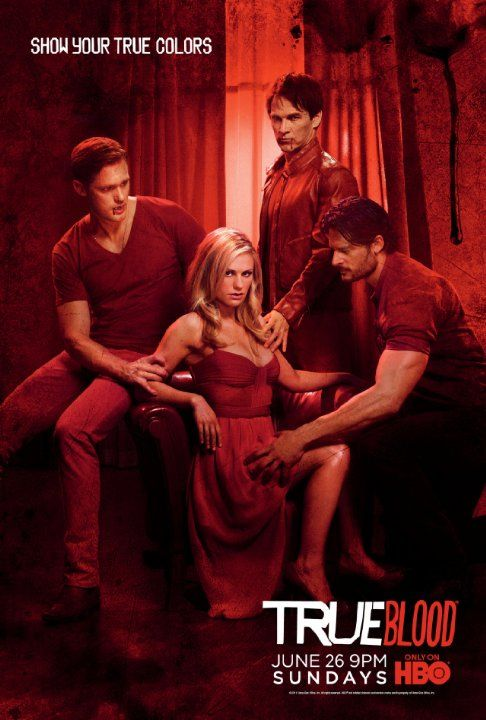 Still of Anna Paquin, Alexander Skarsgård, Joe Manganiello and Stephen Moyer in True Blood (2008)