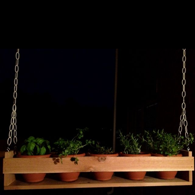 15 Stunning Container Vegetable Garden Design Ideas Tips: Cedar Wood Hanging Herb Garden.
