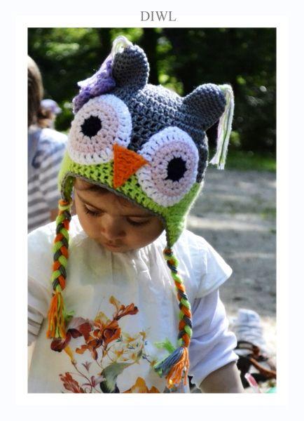 Diwl Baby Kinder Mütze Eule Häkelanleitung Pinterest