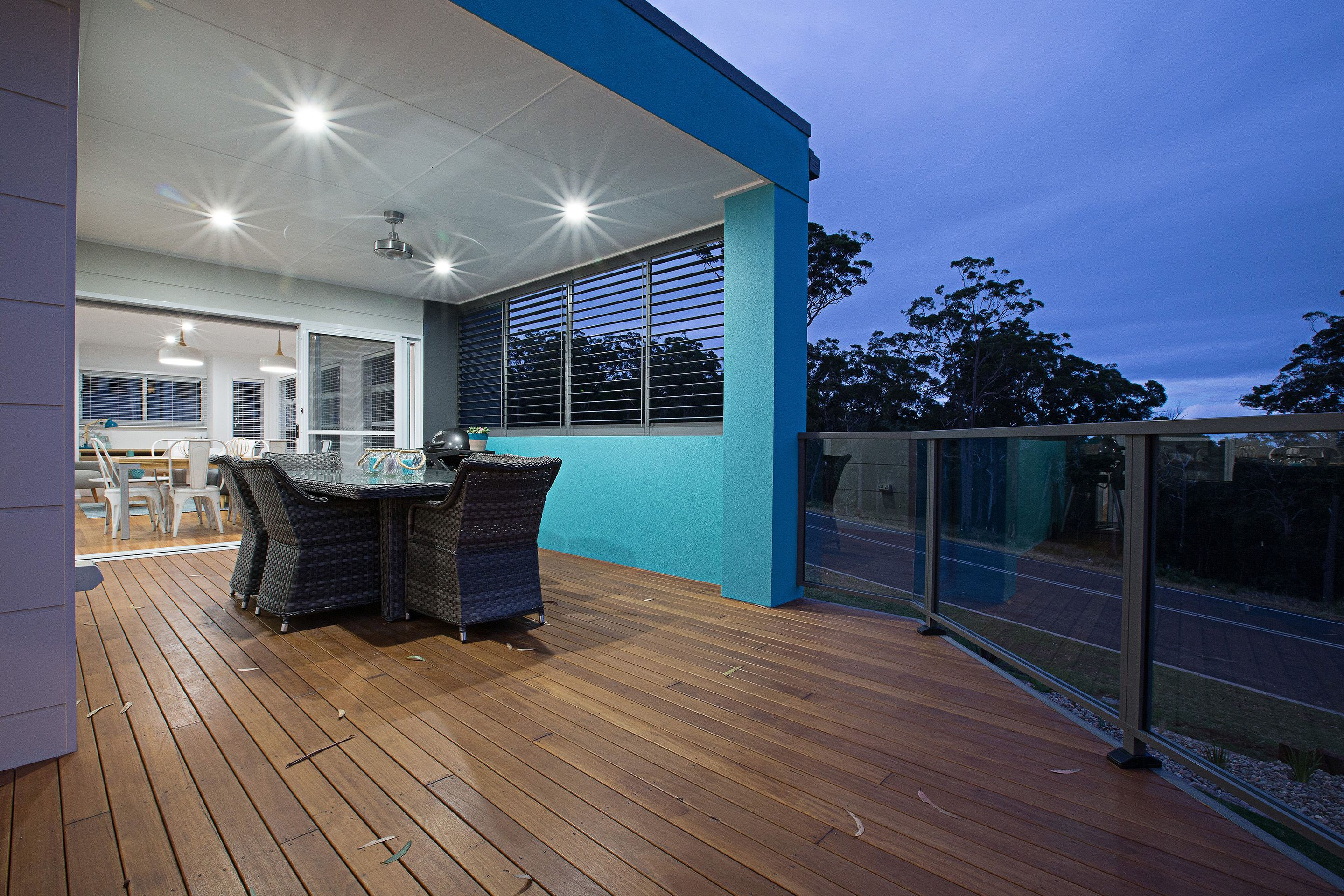 There is plenty of space on this deck for dining and entertaining ...
