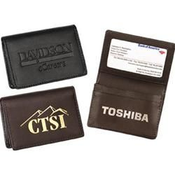 This popular style gusseted card case features an inside ID window and two card pockets.