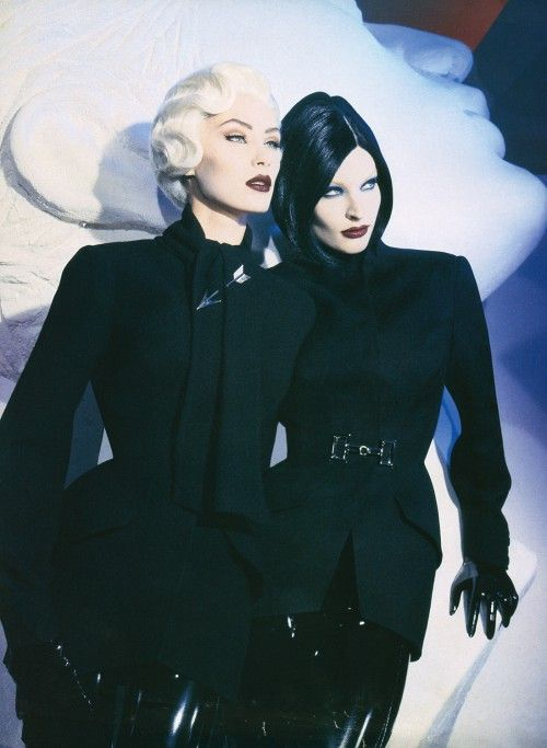 Thierry Mugler (circa '80s/'90s haute couture). Love the makeup and hair!!