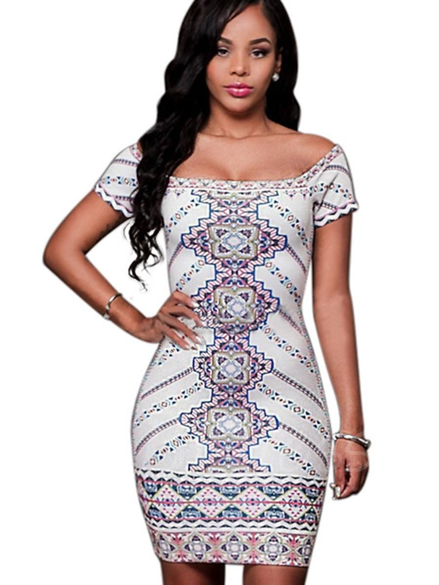 Slim short sleeve floral imprint womens bodycon dress bodycon