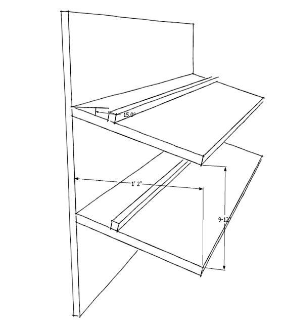 slanted shoe shelf plans could be modified for costume