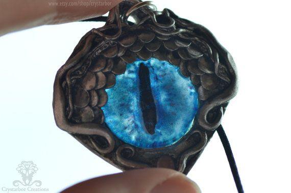 Dragon Eye Necklace Dragon fantasy pendant Silver by Crystarbor