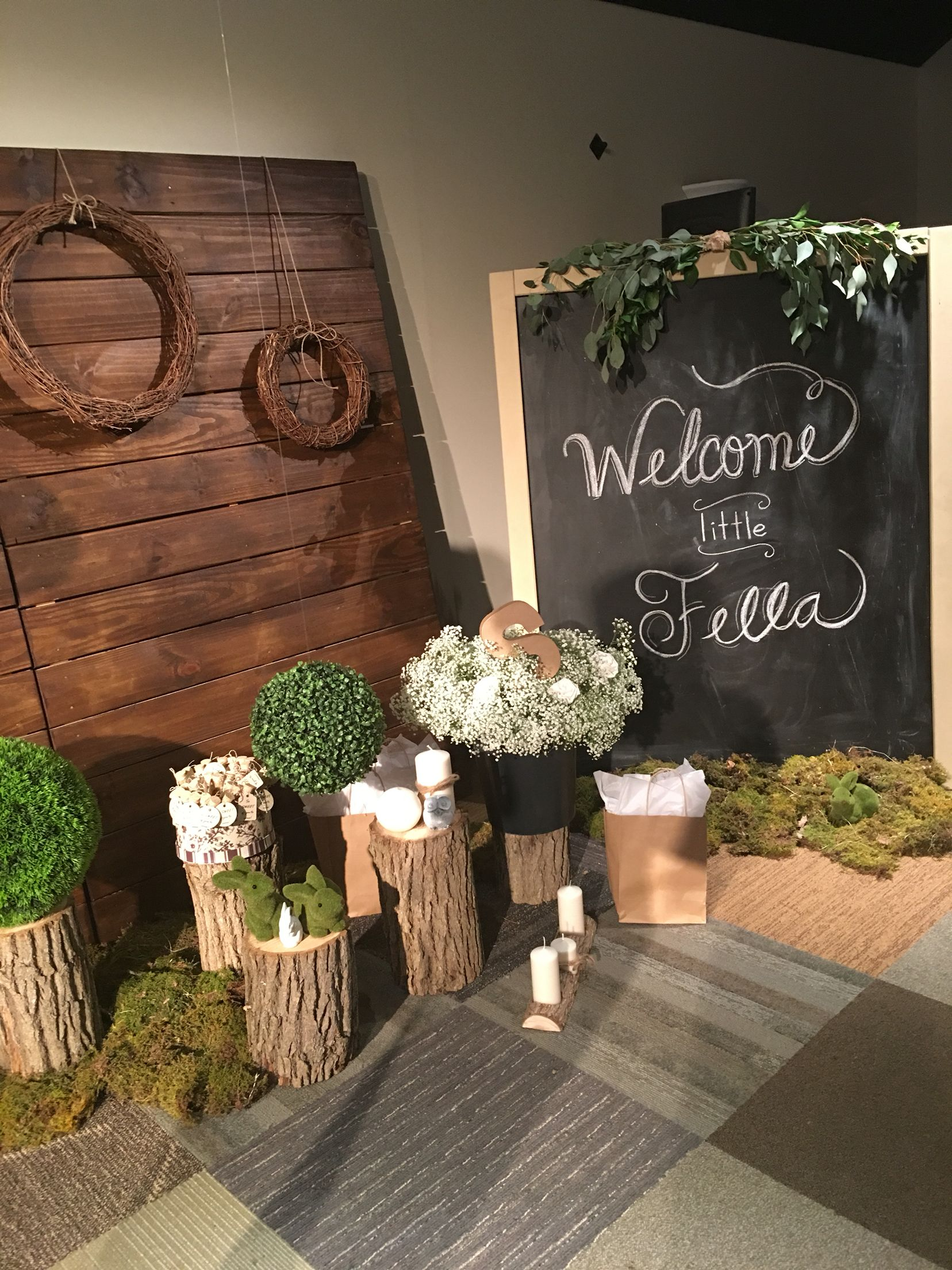 Marvelous Woodsy Baby Shower Decor Forest Baby Shower Woodland Theme Chalkboard Baby  Shower Tree Trunks Wooden Backdrop