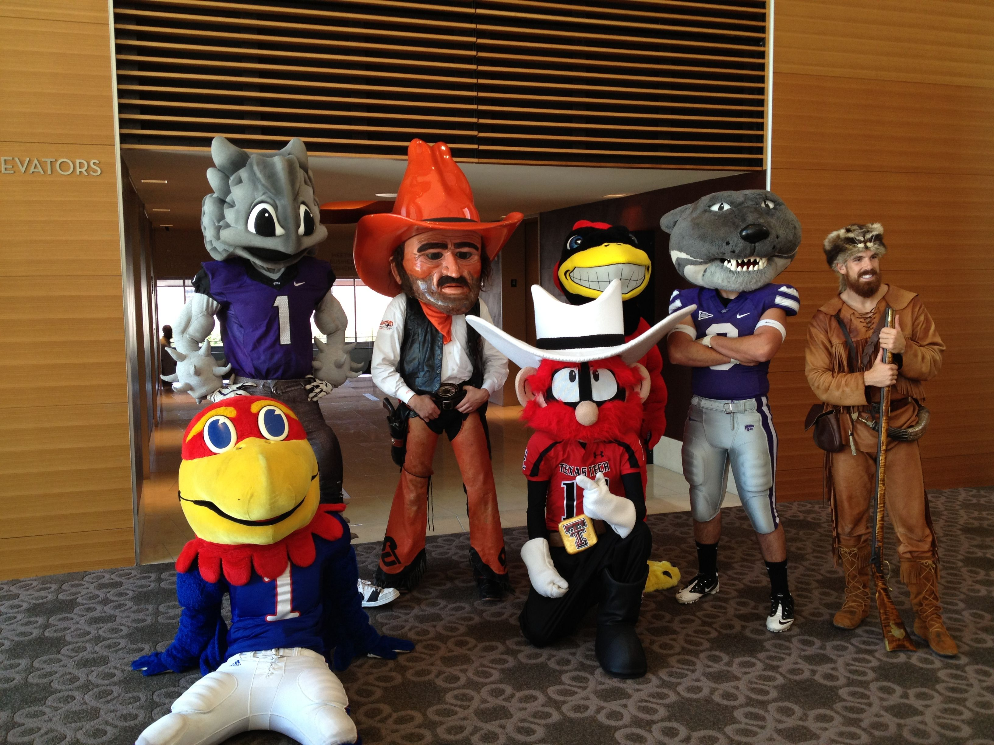 Mountaineer Jonathan Kimble with other Big 12 mascots at