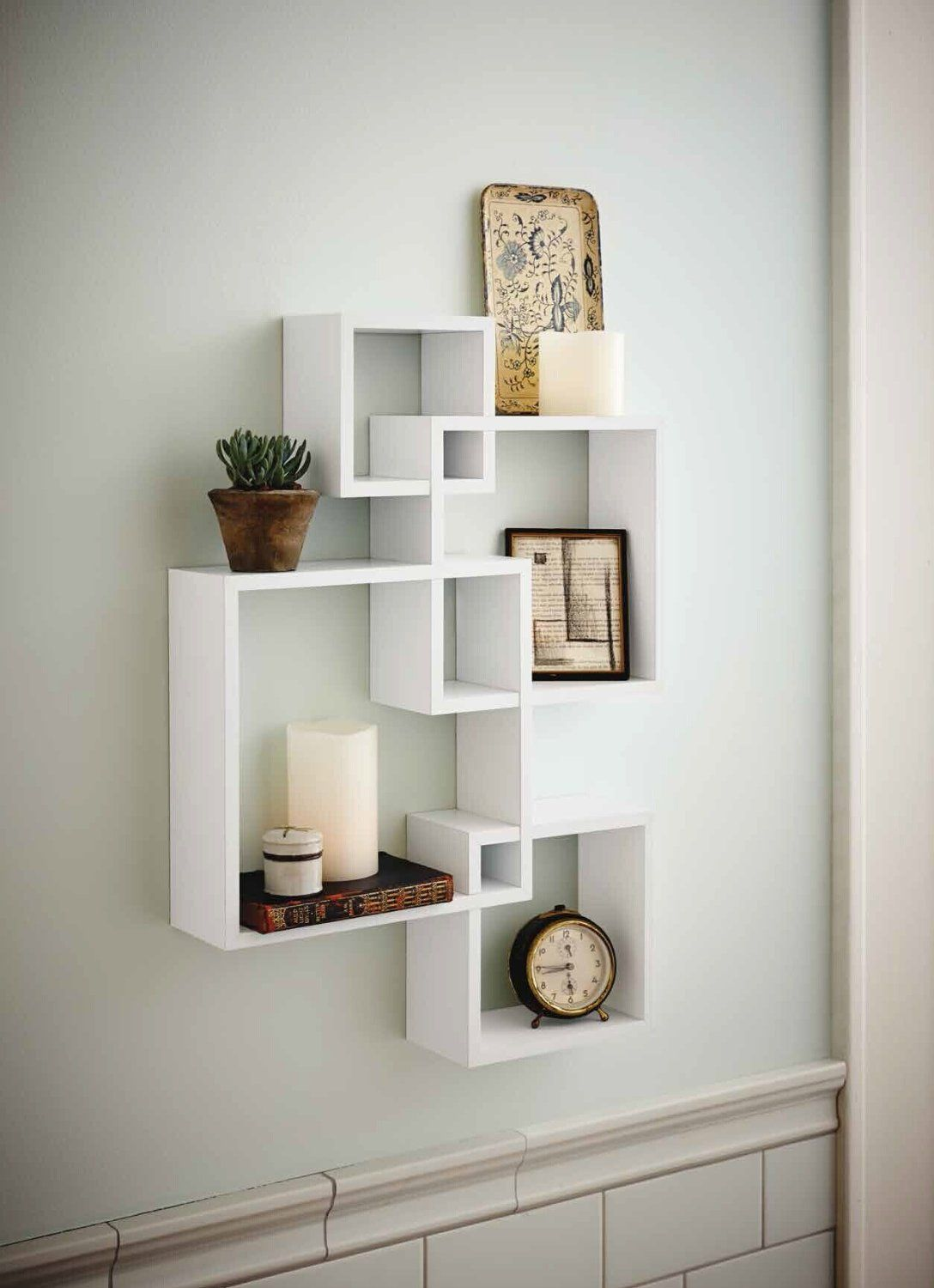 Shelving Solution Intersecting Decorative White Color Wall Shelf, Set of 2  Candles Included