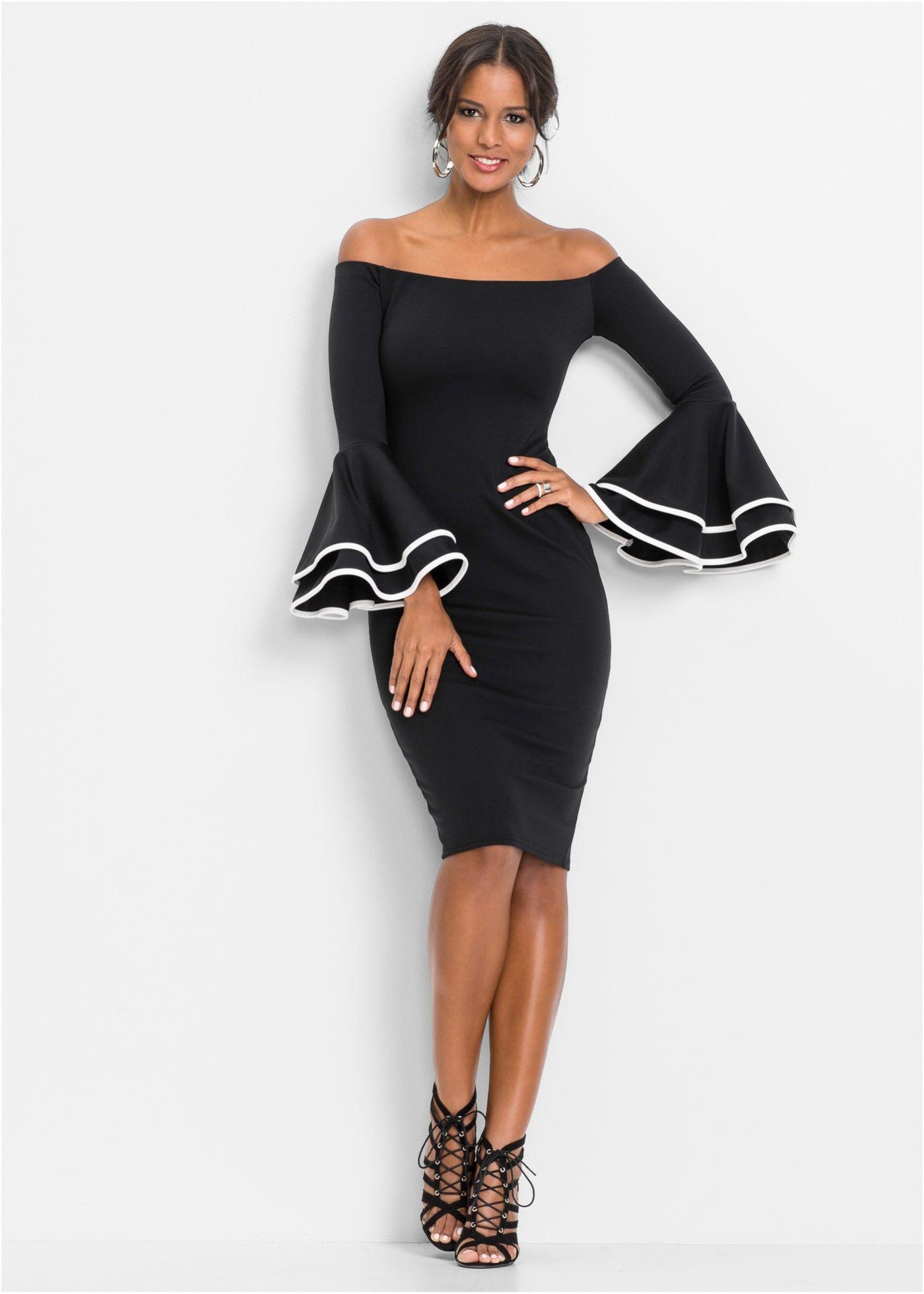 Schulterfreies Kleid schwarz jetzt im Shop von bonprix.ch ab CHF