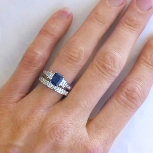 Ring Emerald Cut Sapphire Diamond Engagement And Baguette Wedding Band