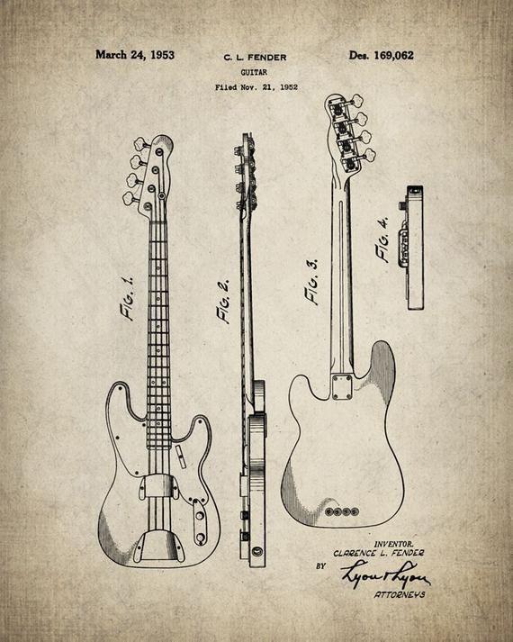 Fender Precision Bass Guitar Patent Print Poster - Bass Blueprint - Fender Guitar - Bass Guitar Patent - Musician Gift - #085 #fenderguitars