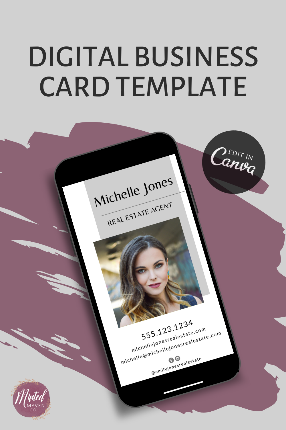 Digital Business Card With Photo Customize Business Card Real Estate Business Card Realtor Business Card Digital Download Bc001 In 2020 Realtor Business Cards Digital Business Card Custom Business Cards