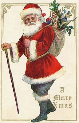 Digital Vintage Postcard Santa Christmas Claus Print Antique