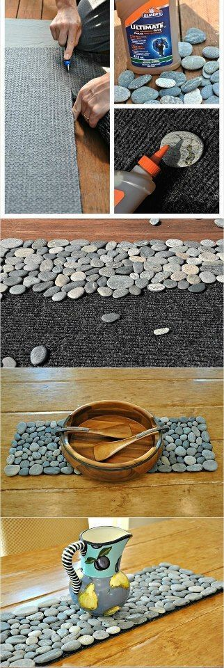 DIY River Stone Table Runner, kawaiihome.com ~Go to Afloral.com for moss mats and candle votives to compliment the table runner