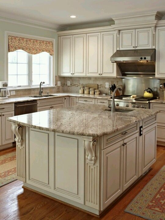 White Cabinets With Glaze Sand Colored