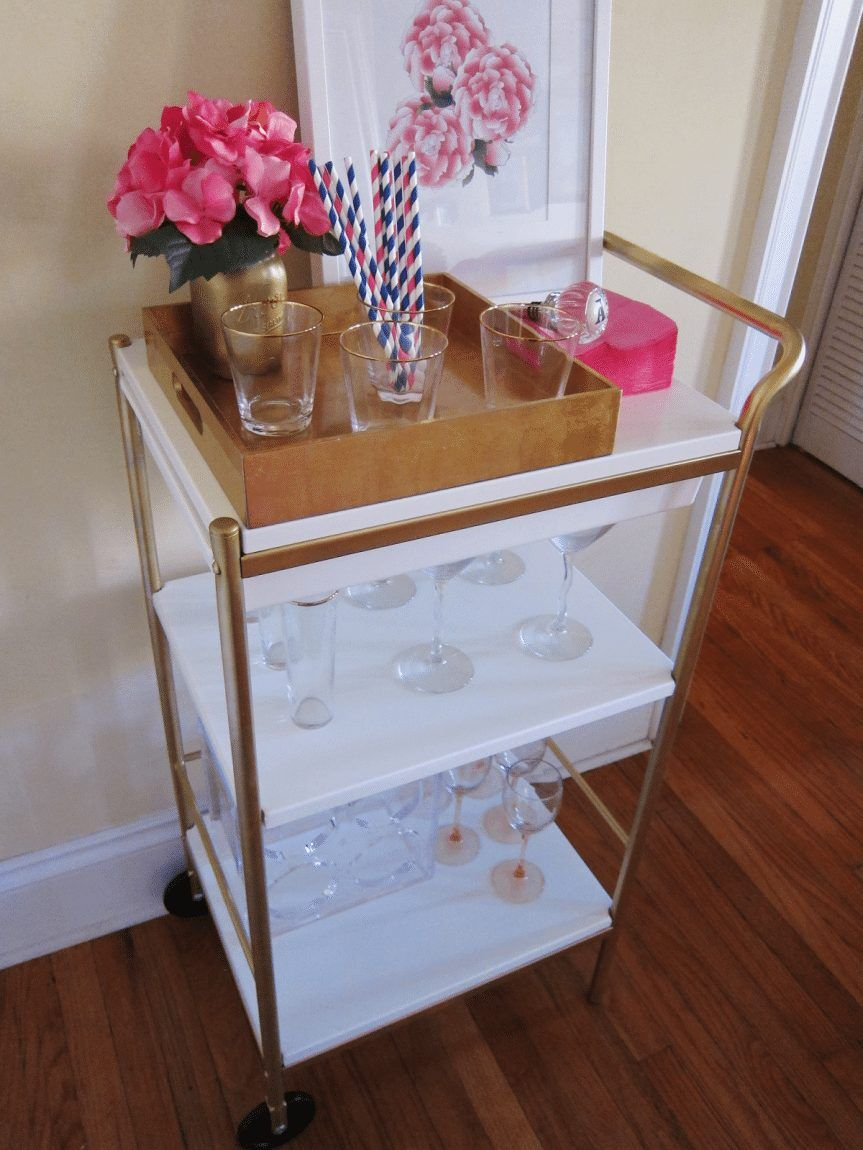 15 Diy Projects To Make Your Rental Home Look More Expensive Ikea Bar Ikea Bar Cart Bar Cart Decor