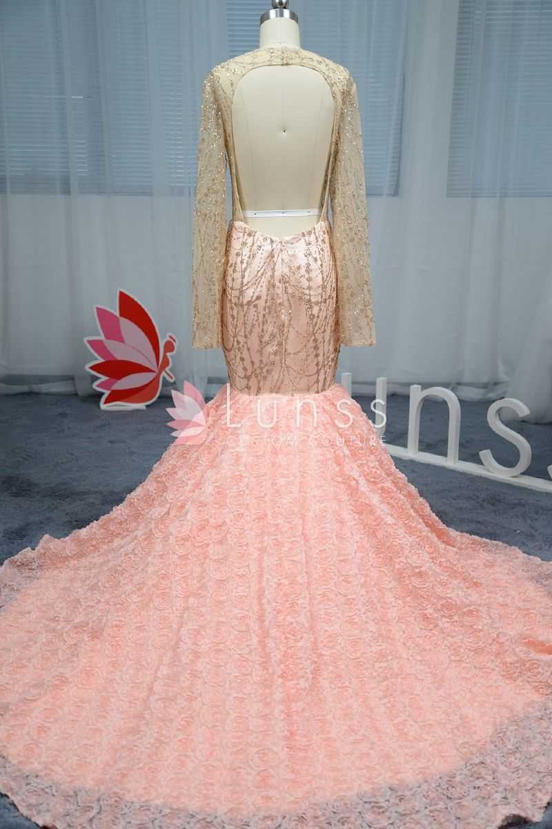 fd4c37bd Luxury Long Sleeve Peach Pink Beaded Prom Dress with 3D Rose Court ...