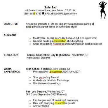 Writing a Good Resume Student Critique and Practice Exercise http - out of high school resume