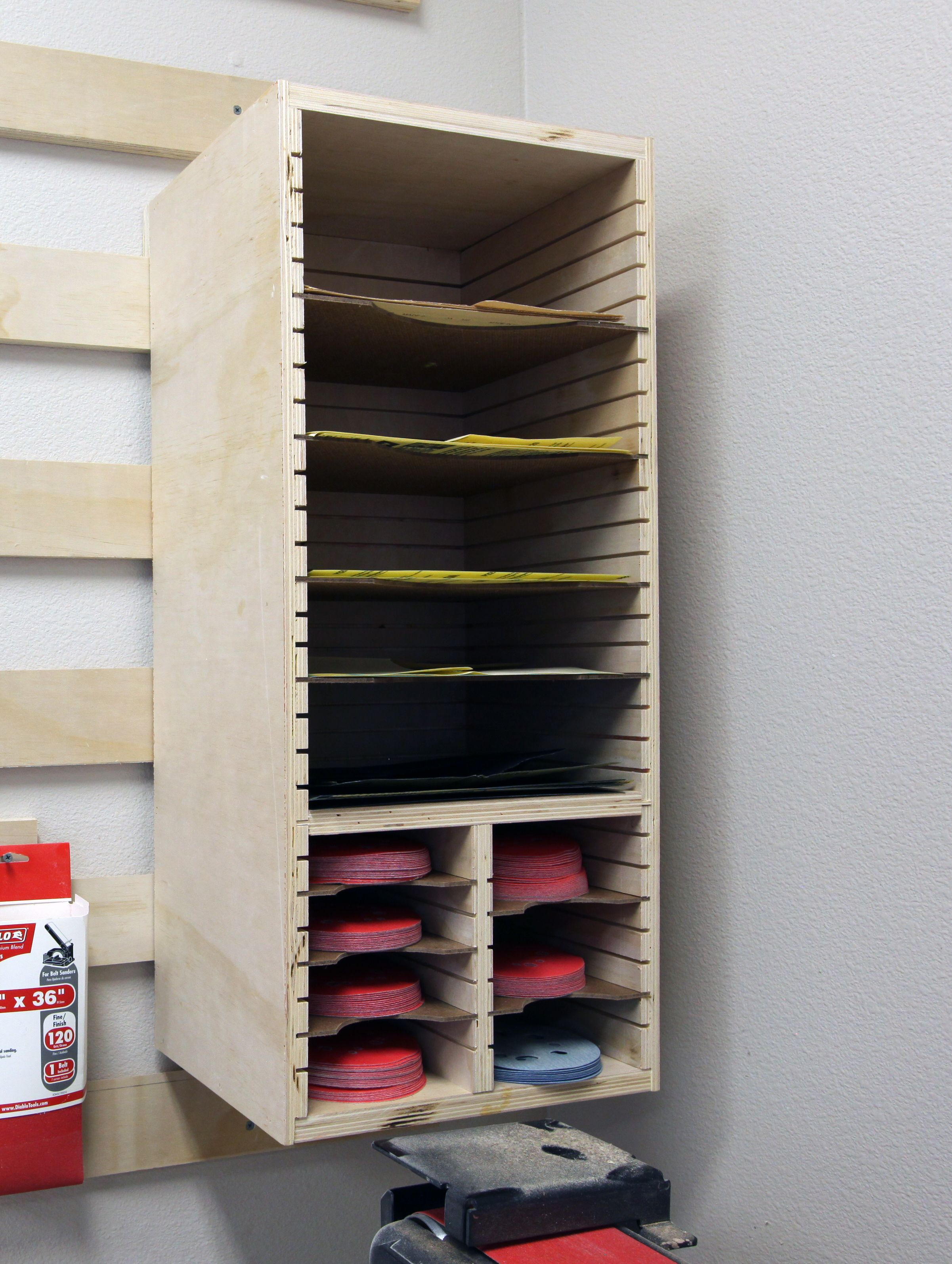 how to make a sandpaper storage station   woodworking
