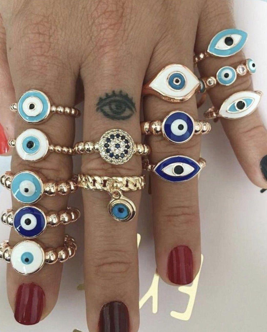 Blue evil eye ring  adjustable ring  dainty ring  dangle evil eye ring  silver gold rings  evil eye jewelry  glass evil eye bead  joint ring #evileyering #jewelry #danglerings #ring #silverring #greekjewelry #giftforher #rosegoldring #daintyevileyering #daintyring #evileye