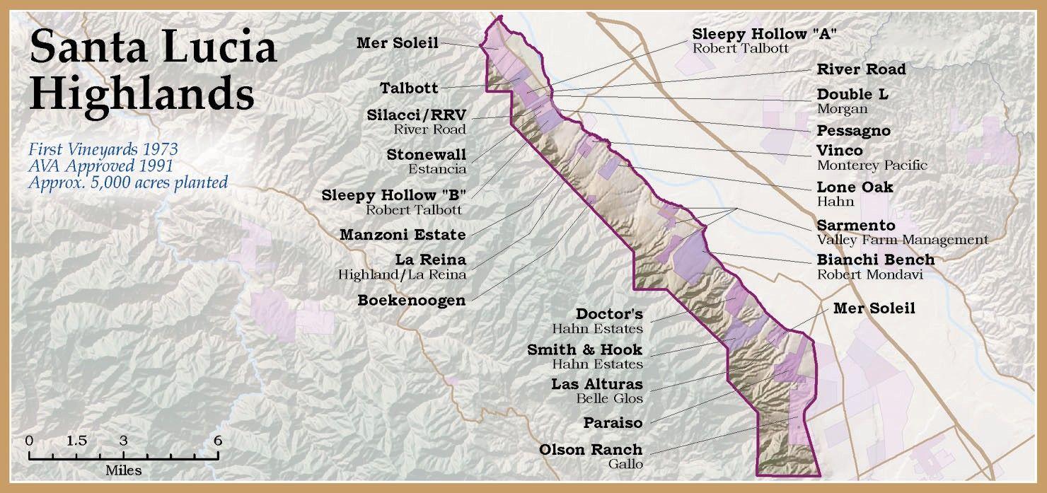 santa lucia highlands map Santa Lucia Highlands Santa Lucia Highlands Wine Map Wine santa lucia highlands map