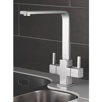 Swirl Cubic Sink Mounted Mono Mixer Kitchen Tap Chrome Kitchen