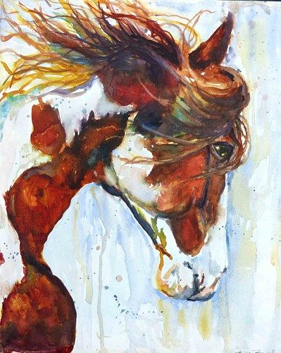 Original Watercolor Horse Portrait Painting by Maure Bausch