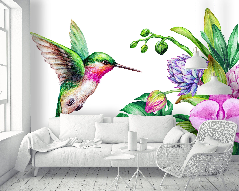 Removable Wallpaper Mural Peel & Stick Flying Humming Bird
