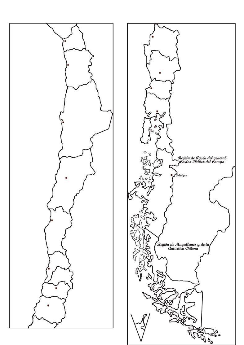 Información e imágenes con Mapas de CHILE Político, Físico y para Colorear  | Chile para niños, Mapas, Mapa politico de chile