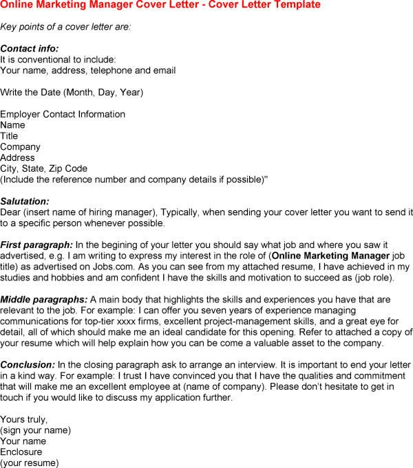 Marketing Cover Letter. Online Marketing Job Cover Letter Tips To