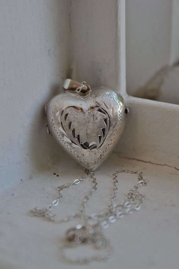 Large Sterling Silver Puffy Heart Locket by CrucibleCrow on Etsy, $49.00