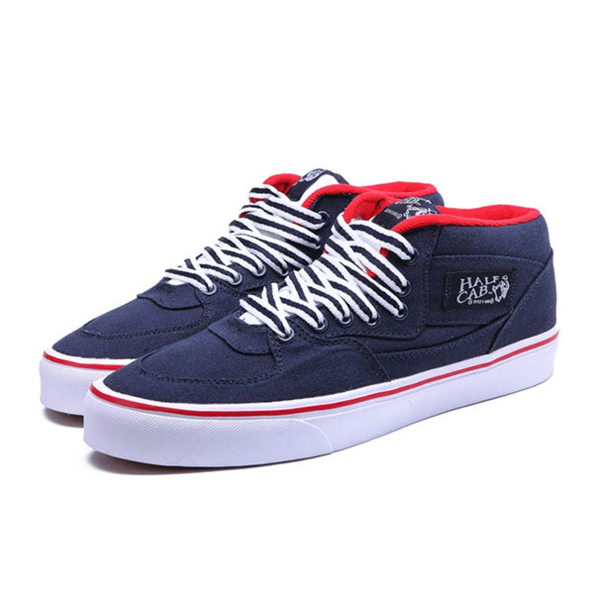 98f0bc9b84 Vans Shoes Navy Blue(Red) Classic Half Cab Shoes Mens Classic Canvas ...