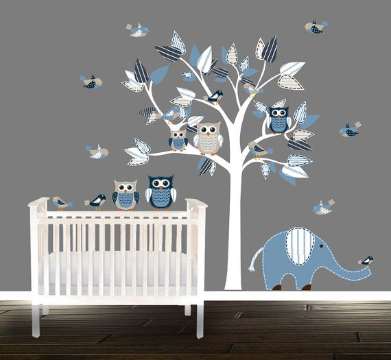 Boys Owl Wall Decal Nursery Tree Vinyl Stickers Blue Grey Elephant