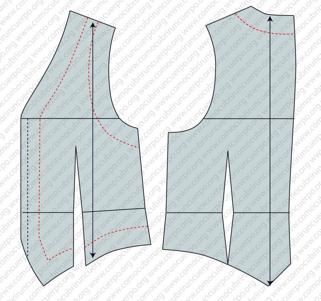 Trazado de las enformas en el patrón del chaleco base | patrones ...