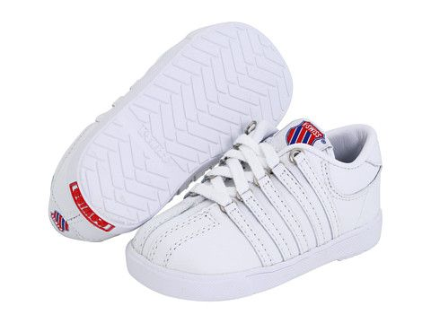 K Swiss Kids Classic Leather Tennis Shoe Core Infant Toddler White, Shoes,  White
