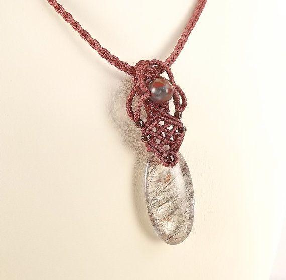 Macrame necklace black tourmalinated quartz pendant neferknots macrame necklace black tourmalinated quartz pendant neferknots mozeypictures Choice Image