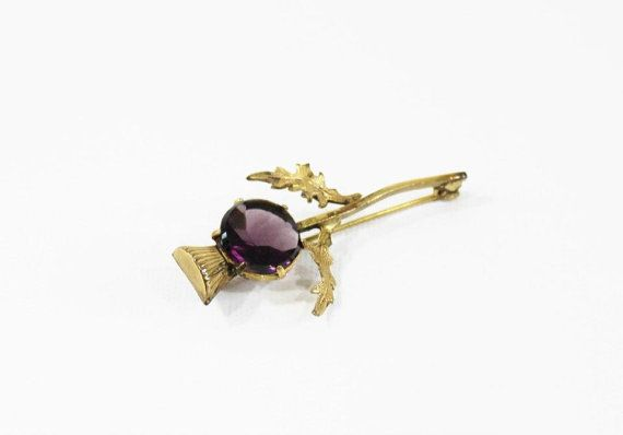 Victorian Scottish Thistle Brooch Purple Czech by estatechicago, $68.00