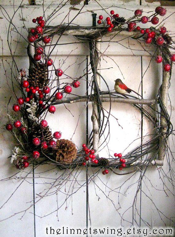 Crimson Berry Christmas Window / Christmas Wreath / Winter Wreath - What a great idea!