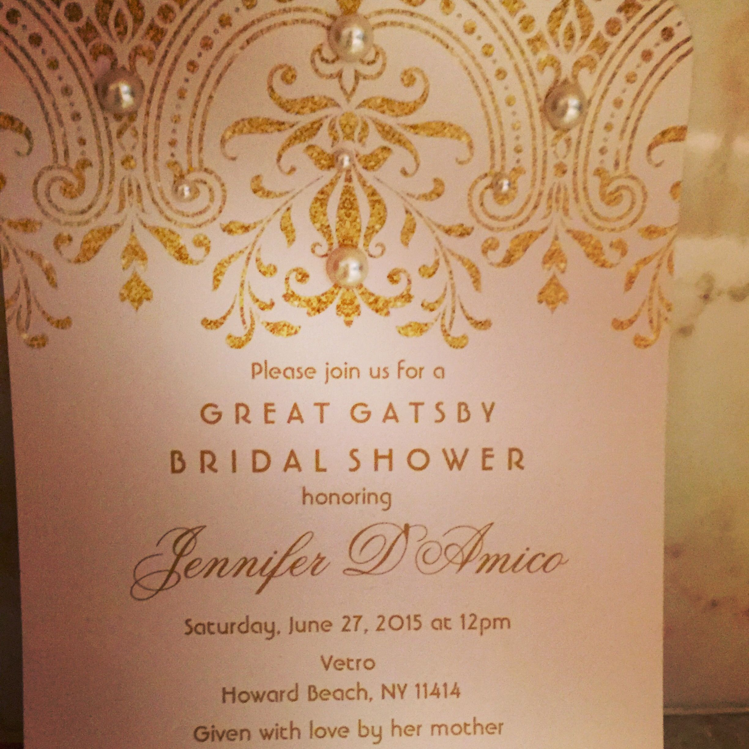 Great Gatsby Style 1920u0027s Bridal Shower Invitation Pale Pink Paper And Gold  Lettering With Adhesive Pearls