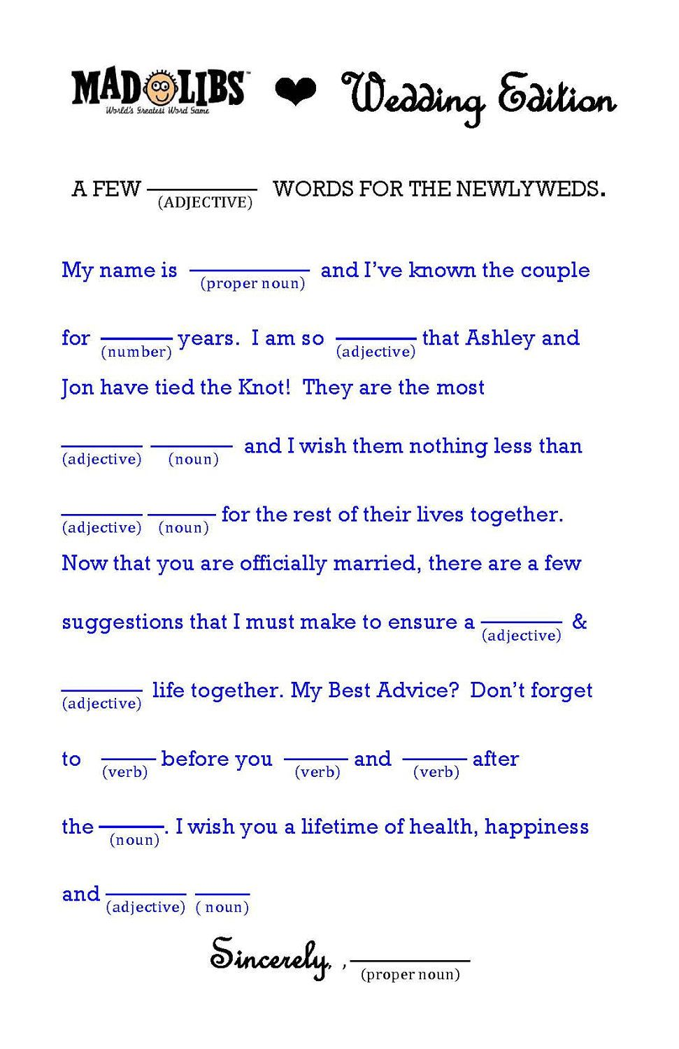 Wedding Mad Libs Word Template For A Unique Guest Book  Ceremony